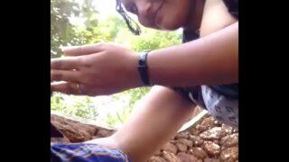 Desi Dehati sex where young girl gives boobs to bf outdoor