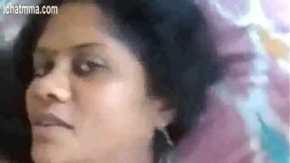 Desi Indian Aunty in blue saree blowjob and boob show